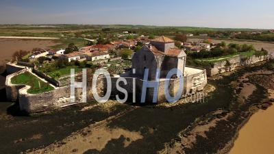 The Church Of Sainte-Radegonde In Talmont-Sur-Gironde, Seen By Drone