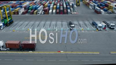 Container Terminal At Port Of Marseille-Fos, Seen By Drone