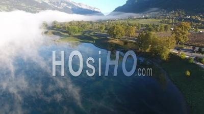 Passy Lake Under The Fog - Video Drone Footage