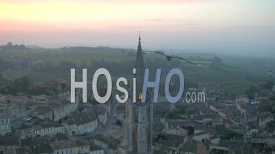 Saint-Emilion, At Sunrise, Viewed By Drone