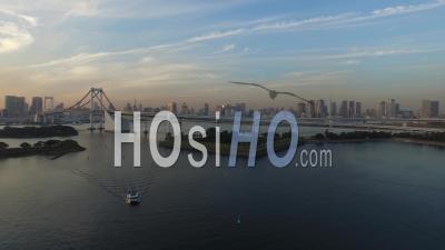 Coucher De Soleil à La Baie De Tokyo, Vidéo Drone