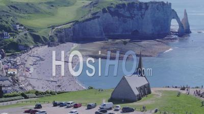 Chapel And Cliffs Of Etretat - Video Drone Footage