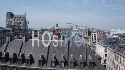 Fly Over Bourse De Lille To Reveal Lille Grand Place, Video Drone Footage
