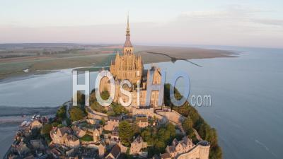 Mont Saint Michel Large Shot By High Tide, View By Drone