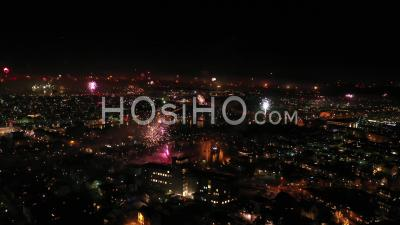 Fireworks Display Over Reykjavik On New Year Eve Night, Iceland - Video Drone Footage