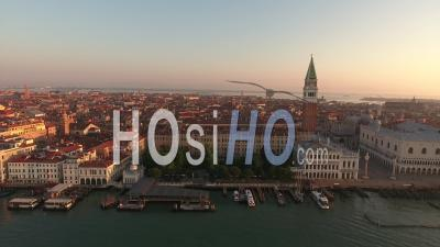 Saint Mark's Square At Sunrise, Venice - Video Drone Footage