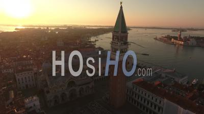 Saint Mark's Square At Sunrise, Venice, Seen By Drone
