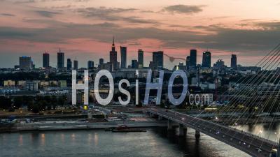 Warsaw Skyline, Warsaw, Warszawa - Video Drone Footage