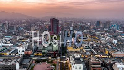 Superior Court Of Lima, Lima, Downtown, Sunrise, Peru - Video Drone Footage