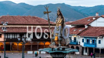 Pachacuti, 9th King Sapa Inca, Statue At Plaza De Armas, Cusco By Drone