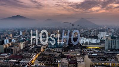 Lima, Downtown, Sunrise, Peru - Video Drone Footage
