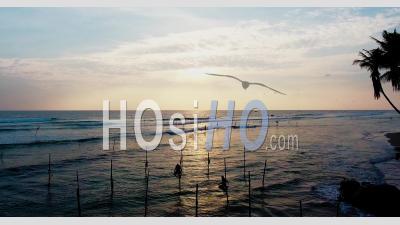 Fishermen On Pole In The Sea, Sri Lanka - Video Drone Footage
