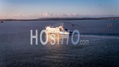 Ferry Leaving Port Portsmouth, Portsmouth, Seen By Drone
