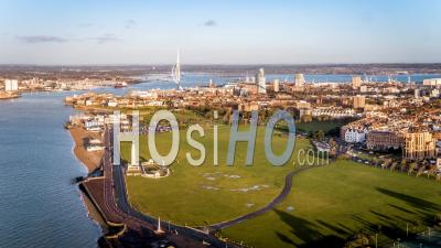 Port Entrance And Historic Portsmouth Waterfront, Portsmouth, Harbour Seen By Drone