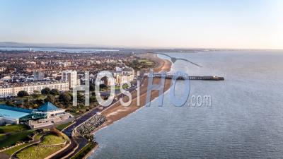 Portsmouth Pier And Pyramid Center, Seafront, Portsmouth, Morning, Seen By Drone