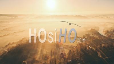 Brouillard Sur Le Matin, Vidéo Drone