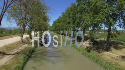 Canal Junction And The Village Of Sallèles D'aude - Video Drone Footage