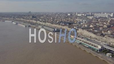 Aerial View Of Quai De Bordeaux, Hangar 14, Congress, Bordeaux And The Garonne River - Video Drone Footage