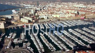 Vieux-Port Old Port With Yachts And Panier Old Town Quarter, Marseille, France – Aerial Video Drone Footage