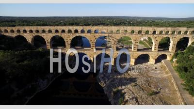 Pont Du Gard, A Historic Roman Aqueduct Bridge In Gard Region, Southern France - Video Drone Footage